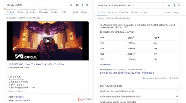 Featured Snippet dạng video và dạng bảng biểu