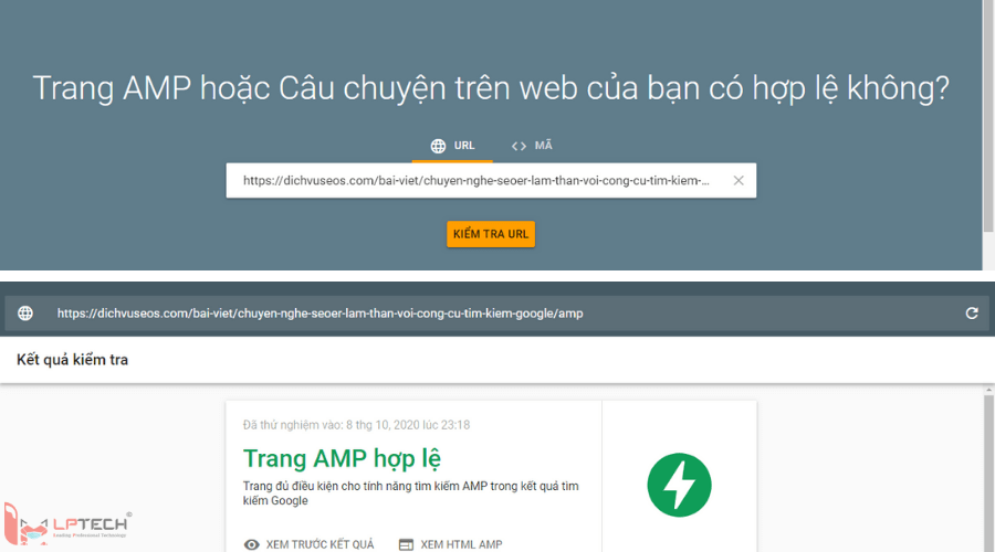 Kiểm tra AMP Test - Google Search Console