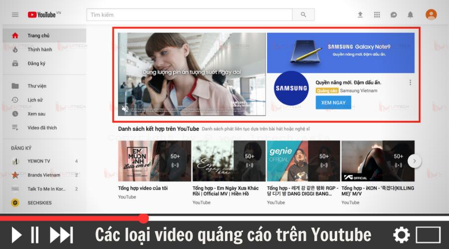 Các loại video quảng cáo trên Youtube