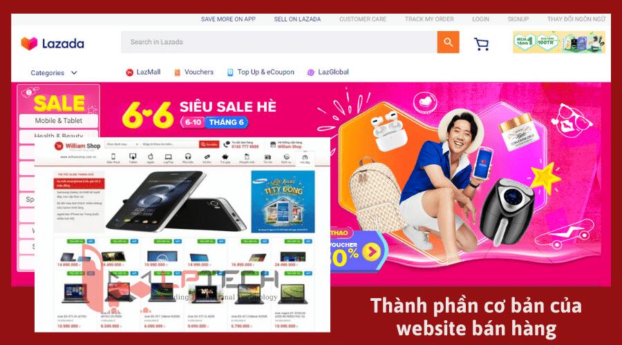 Thành phần cơ bản của website bán hàng